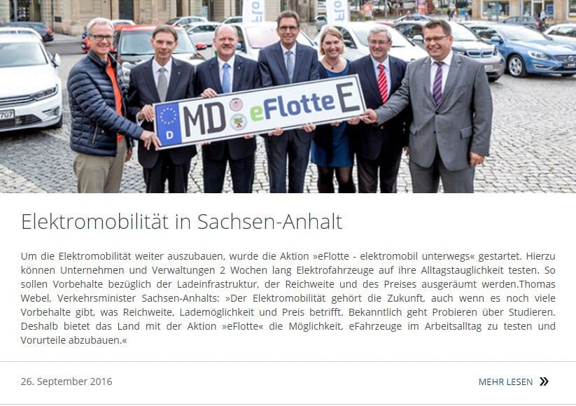 eMobilität in Sachsen-Anhalt